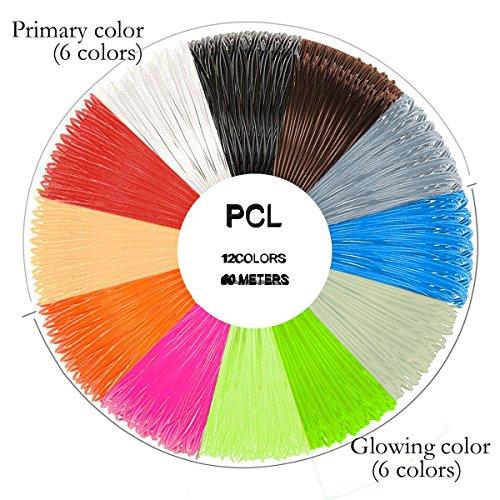 OBEST 3D Pen Filament 12 Farben 60 Meter Gesamt Refill Filament Pack 1.75mm (PCL)