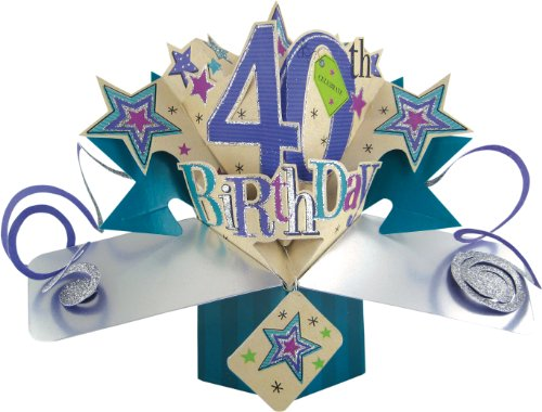 Second Nature A 40th Birthday with Stars Pop Up Greeting Card
