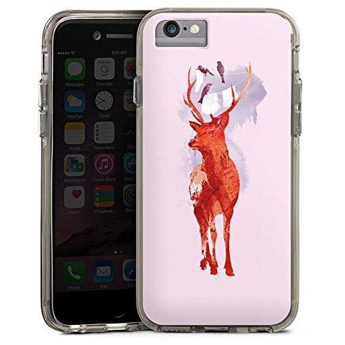 Apple iPhone 6 Bumper Hülle Bumper Case Glitzer Hülle Hirsch Deer Art Bumper Case transparent grau