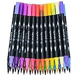 Rotuladores Punta Fina y Punta Pincel de Colores - Set 25 Rotuladores Doble Punta para Colorear y Dibujar