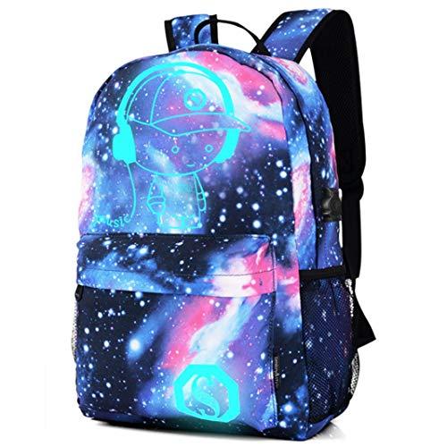 Preisvergleich Produktbild Keepwin Teenager Mädchen Jungen Schultasche,  Galaxie Helle Rucksack Sammlungs Leinwand Tasche mit USB-Ladegerät (Blau)