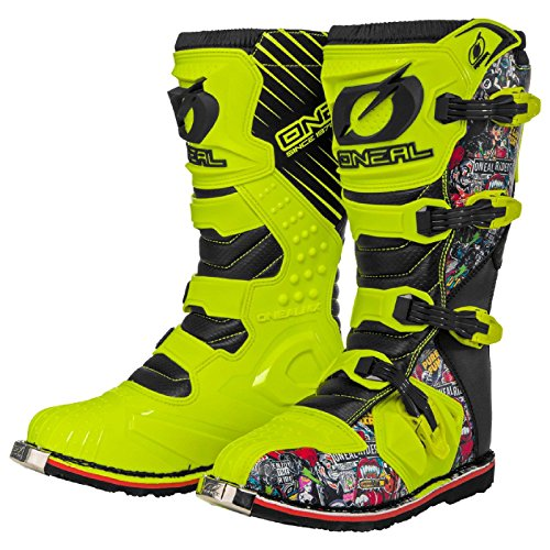 O'Neal Rider Boot Crank MX Cross Stiefel Neon Gelb Pin It Motorrad Enduro Motocross Offroad, 0329-0, Größe 42