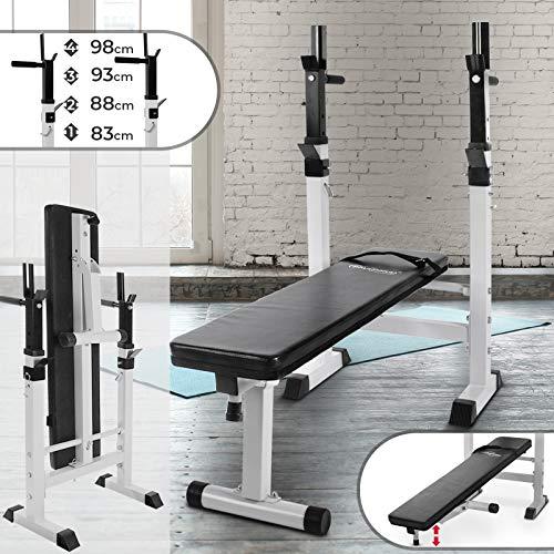 Physionics Banco de Musculación - con Soporte para Pesas, Plegable & Ajustable, MAX. 200kg - Banco...