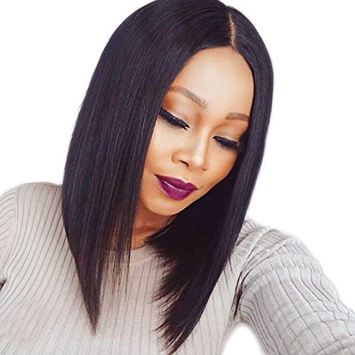 Mufly Natur Schwarz Afro Perücke Mittellang Haar Synthetische Lace Front Middle Part Bobo Perücken für Damen Lace Front Wigs (Stile Front Lace)