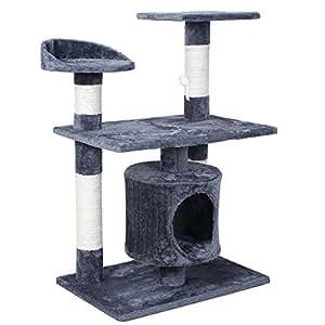 songmics arbre chat griffoir grande socle deux tages 90. Black Bedroom Furniture Sets. Home Design Ideas