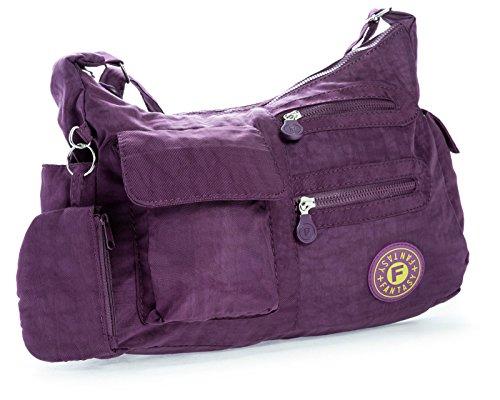 Big Handbag Shop di dimensioni medie borsa a tracolla Unisex in plastica Pouch Viola (viola)