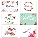 Thank You Cards - 36 Note Cards Blank Inside - 6 Designs - White Envelopes Included