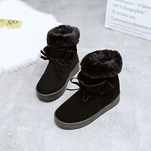HSXZ Scarpe donna Nabuck Pelle PU inverno cadono lanugine Fodera comfort Snow Boots stivali tacco piatto Round Toe stivali Mid-Calf Bowknot di Abbigliamento Casual Black