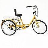 Xian Triciclo da 24 Pollici per Triciclo per Adulti Triciclo per Bicicletta Trike a 3 velocità 3 Ruote + cestello per Schienale