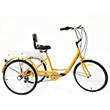 Xian 24 Pulgadas, Triciclo para Adultos, 6 velocidades, Bicicleta Trike Cruise, 3
