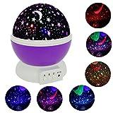 haichen romantischem 360drehbar Star Mond Projektor Nachtlicht, 3Modelle, Stromversorgung über USB oder Batterie, Zuhause Dekoration Lampe, Neuheit Geschenk für Kinder, Violett