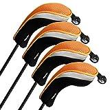 Andux Hybrid golf Schlägerkopfhüllen Golf Eisen deckt Eisenhauben austauschbar Nr. Etikett 4pcs/set MT/hy07 schwarz/orange