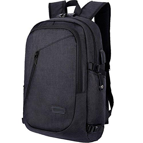 Zaino Laptop BstAmzStore 3in 1 con serratura, porta USB di ricarica, interfaccia cuffie,Zaino da viaggio per il viaggio per notebook e tablet da 12-15.6 pollici, tasche multifunzione Zaino Daypack Student impermeabile (nero)