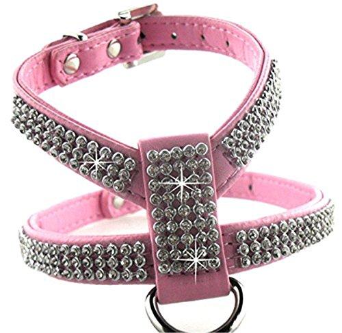 SFNet Die neuen Hochwertige PU Strass Hund Halsband Kette Geschirre (S, rosa) (Strass-schleife Rosa)