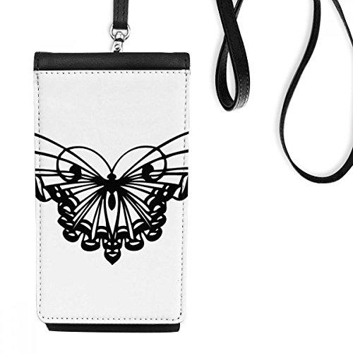 DIYthinker Schmetterling mit Rüschen Flügel-Leder-Smartphone Hanging Handtasche Schwarze Phone Wallet Geschenk