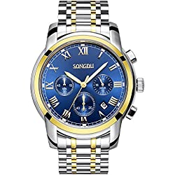 SONGDU Men's Gold Plated Quartz Unisex Wrist Watch Blue Dial Stainless Steel Bracelet Chronograph Analogue Calendar Date Luminous White Hand