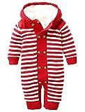 Ateid Baby Overall Plüsch Strampler Anzug Langarm mit Kapuze aus Baumwolle, Rot 0-6 Monaten
