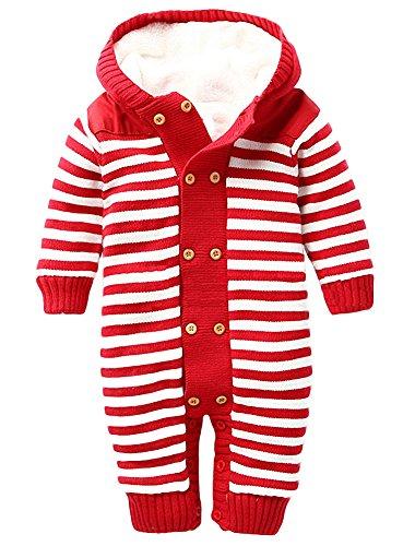 Ateid Baby Overall Plüsch Strampler Anzug langarm mit Kapuze aus Baumwolle, Rot 0-6 Monaten (Baumwolle Gestreiften Overalls)
