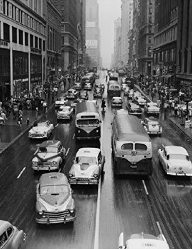 USA New York City Rainy Day Traffic Looking West from Park Avenue and 42nd Street Poster Drucken (60,96 x 91,44 cm)