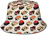 zhouyongz Sun Hat Sushi Pugs Bucket cap UV Sun Protection Fisherman's Hat Foldable Lightweight Breathable Outdoor Travel cap Black