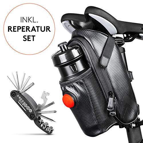 Satteltaschen für Fahrrad inkl. Reifen Reparaturset und Rücklicht- & Flaschenhalter | Geräumige Fahrradtasche mit Werkzeug für den Sattel aus wasserabweisendem Material