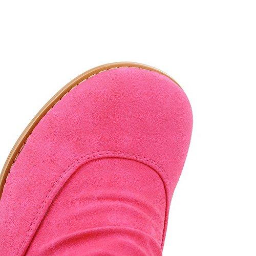 AgooLar Femme Haut Demi Couleur Unie Tire Rond à Talon Correct Bottes avec Pendentif Rose