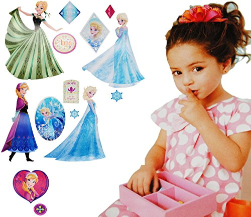 alles-meine.de GmbH 15 Stück: Wandsticker -  Disney die Eiskönigin / Frozen  - selbstklebend + wiederverwendbar - Aufkleber für Kinderzimmer - Wandtattoo / Sticker Kinder - ()