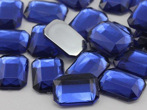 25 x 18 mm bleu roi JG33 octogonale Strass Acrylique Dos Plat Pro haute qualité - 18 pièces
