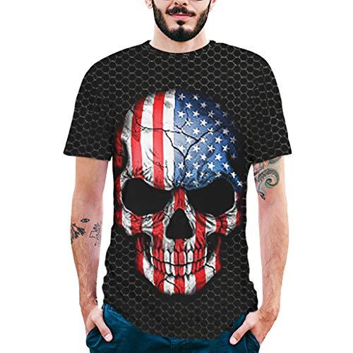 TianWlio Tops T-Shirts Herren Sommer Mode Splash Tinte 3D Druck Tees Shirt Kurzarm T-Shirt Bluse Tops Schwarz XL