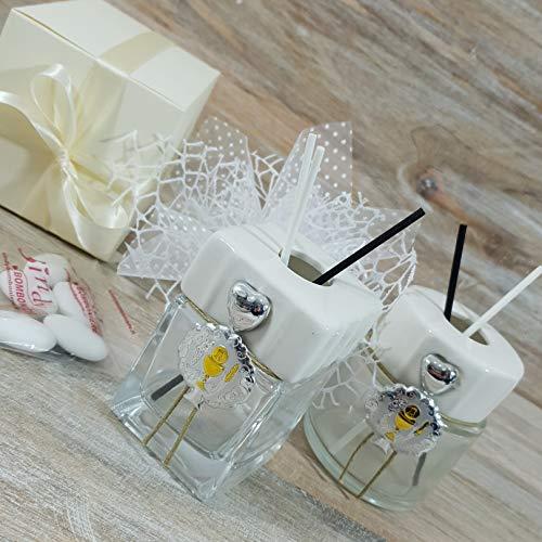 Bomboniere utili profumatore/diffusore albero della vita e ciondolo confetti crispo (1 profumatore con albero argento con kit)