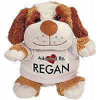 AdoptedBy TB2 Regan Cuddly Dog Teddy Bear Wearing a Printed Named T-Shirt
