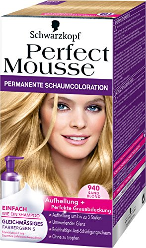 Perfect Mousse (Perfect Mousse permanente Schaumcoloration, 940 Sand Blond, 3er Pack (3 x 93 ml))