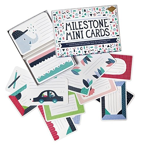 Milestone Mini Cards mit 100 illustrierten Karten zum Beschriften für einzigartige Erinnerungen von 0 bis 12 Jahre