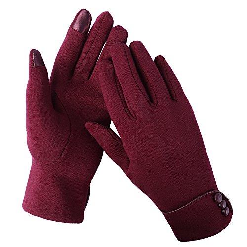Aibrou Touchscreen Handschuhe Damen Winterhandschuhe Fahrradschuhe Frauen Handschuhe Winter Warm Handschuhe mit Fleecefutter Rot