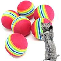 Da.Wa 10 Stück Haustier Katze Hund Training Ball Super Q-Regenbogen Ball Spielzeug Golfübungsbälle,3.5 cm im Durchmesser