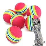 Da.Wa 10 Stück Haustier Katze Hund Training Ball Super Q-Regenbogen