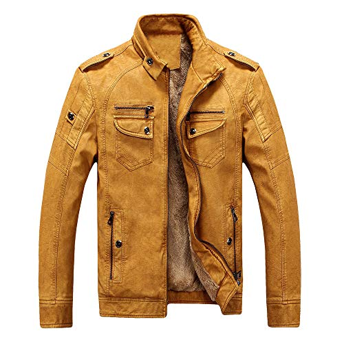 KUDICO Mens Coat Leather Clothing Clearance Standing Collar Plush Lining Washed Retro Jacket Winter Solid Outdoor Tops(Yellow,XL)