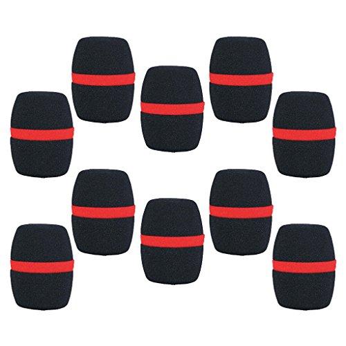 10 Stück Hand Bühne Mikrofon Windschutzscheibe Schaumstoff Mikrofonabdeckung Karaoke-rot - Schwarz