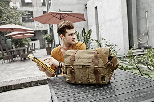 Da uomo e da donna, in pelle, con tracolla, in tela, borsa Messenger Bags verde verde