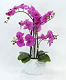 Kunstpflanze Orchidee XL mit Keramiktopf - ca. 53cm hoch (Blüten lila - Topf weiß)