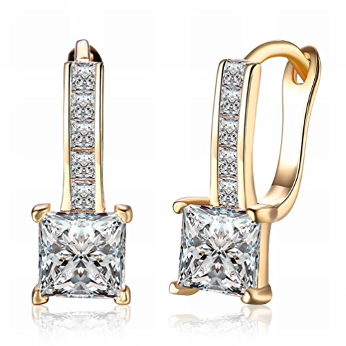 Quadratischer Ohrringe Gold-diamant (MOMO K Gold Zirkon Ohrringe Quadratischen Diamanten Romantischen Ohrringe Ohrringe Champagner Gold Damen / Edelstahl / Anti-allergie / Silber Gl?nzend / Klein und Exquisite,Zahl)