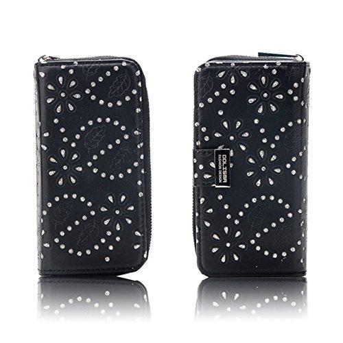 EKINHUI Case Cover Ahornblatt-Harz-Diamant verziertes magnetisches PU-lederner Mappen-Beutel-Kasten mit Einbauschlitzen für iPhone 7 ( Color : Black ) Black