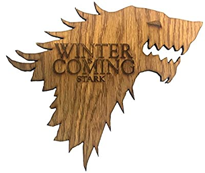 "Game of Thrones House Stark ""Winter is Coming"" Wooden Direwolf Sigil"