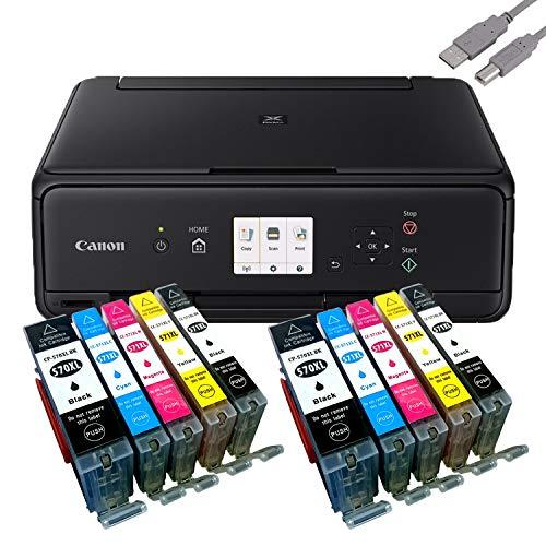 Canon PIXMA TS5050 Drucker Tintenstrahl-Multifunktionsgerät schwarz (Drucken, Scannen, Kopieren, Cloudlink) mit 10 komp. youprint Druckerpatronen PGI570/CLI571 XL (ohne Originalpatronen) -