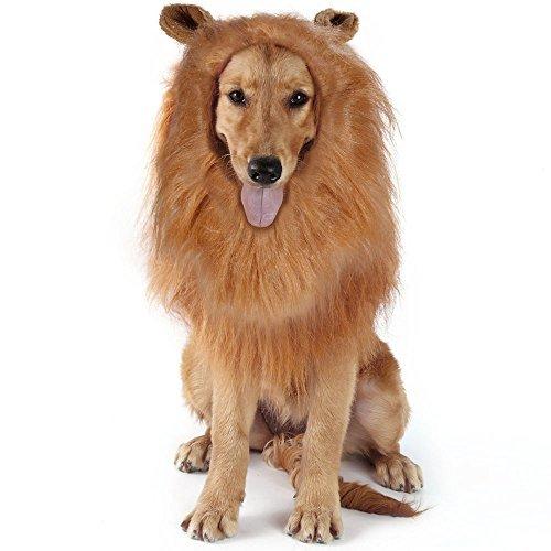 Lictin Löwenmähne für Hunde Hund Löwe Mähne Haustier Löwenmähne Hunde Löwe Mähne Perücke für Festival Party Kleidung Kostüm