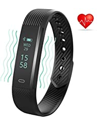Three-T Fitness Tracker mit Herzfrequenz Monitor Bluetooth 4.0 Wasserdicht Smart Wristband Armband Sport Schrittzähler mit Sleep Monitor / Step Tracker / Kalorienzähler für Android und iOS Smartphones