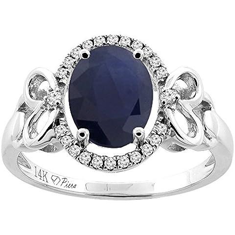 Revoni-Catenina in oro 14 k, lunghezza: Halo anello ovale con zaffiro di Ceylon, 9 x 7 mm, motivo cuore, diamante & Accents - Ceylon Sapphire