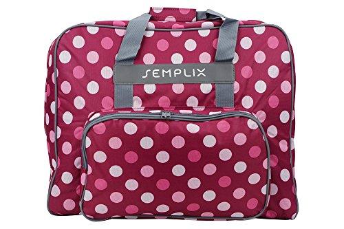 SEMPLIX XL-Nähmaschinentasche, Polka Dots Beere/Rosa, 52x42x27 cm, Große stabile Transport und Aufbewahrungs Tasche für große Nähmaschinenmodelle (Und Nähmaschine Taschen Koffer)