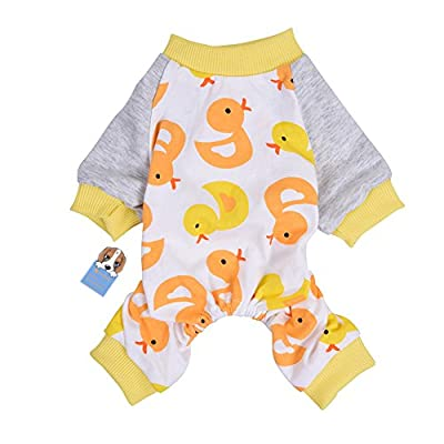 Oshide Pet Dog Clothing Lovely Duck Pattern Puppy Shirt Pajamas Home Sleep Wear Warm Night Jumpsuit, XS - XL