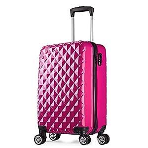 valigie trolley 4 ruote leggera bagaglio rigide 57cm 20068 pesca Partyprince Rosso